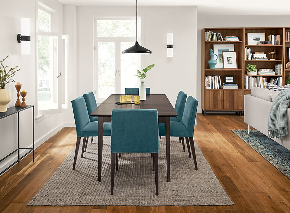 Adams extension table with blue chairs