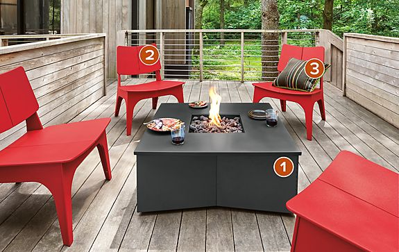 Adara Outdoor Fireplace with Sundby Chairs