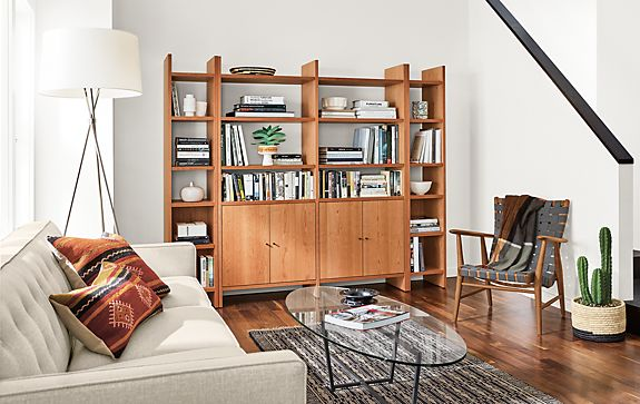 Custom Addison Bookcases with Doors in Cherry