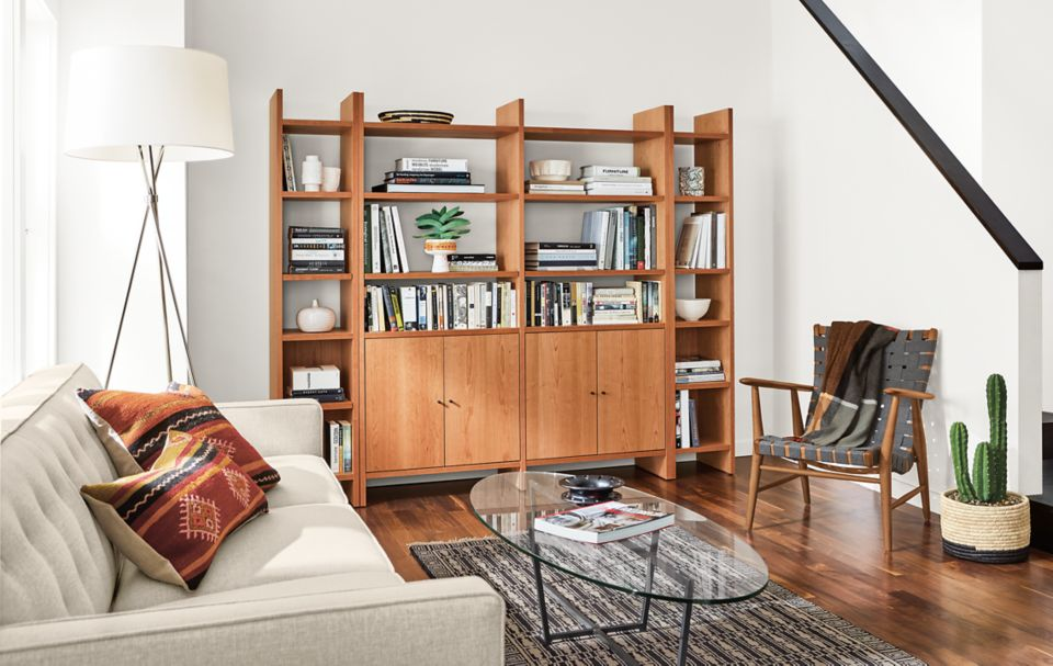 Four custom Addison bookcases in living space