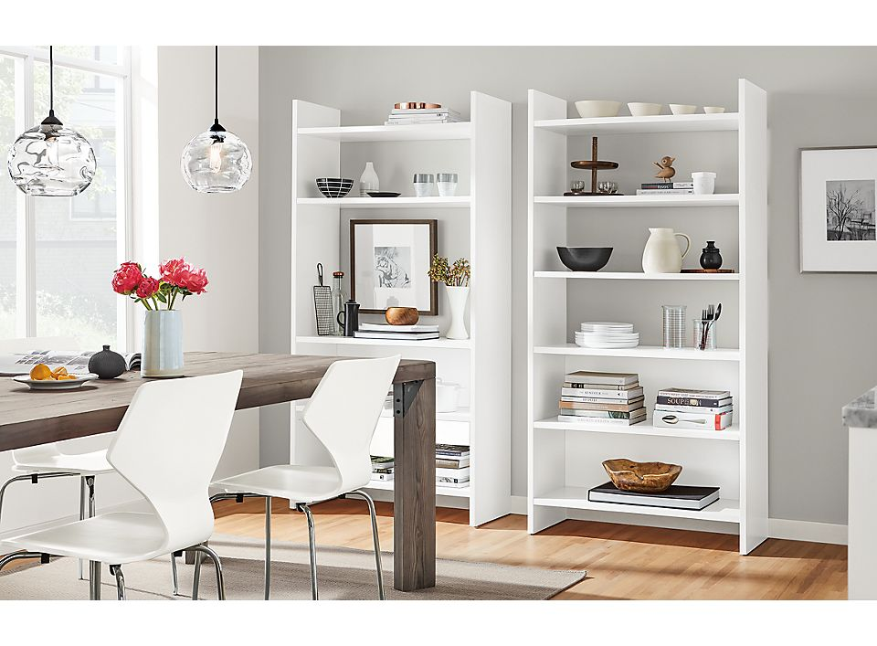 Custom white Addison bookcases in dining room