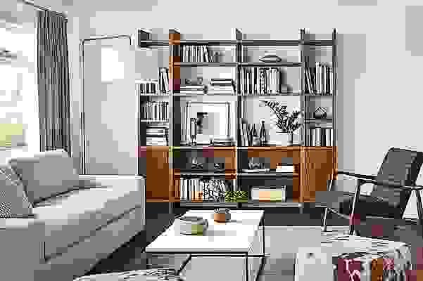 Custom Addison bookcases in warm modern living room