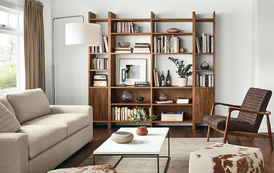 Custom Addison bookcases in warm modern living room