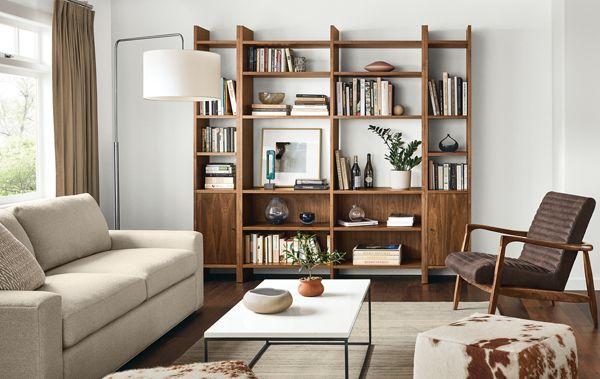Ordinaire Custom Addison Bookcases In Warm Modern Living Room