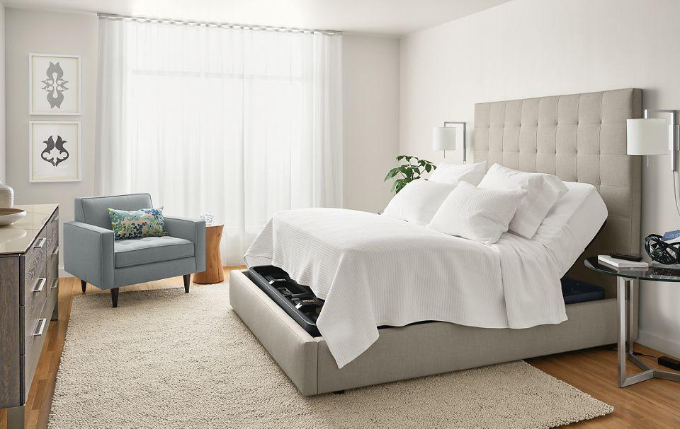 Side detail of adjustable mattress base extended