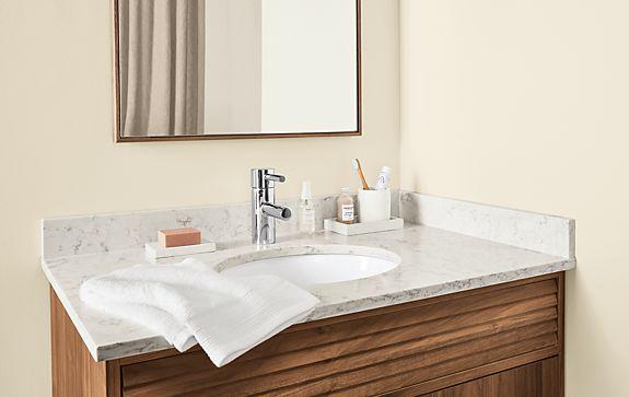 Adrian One-Sink Vanity with Marbled Quartz Top