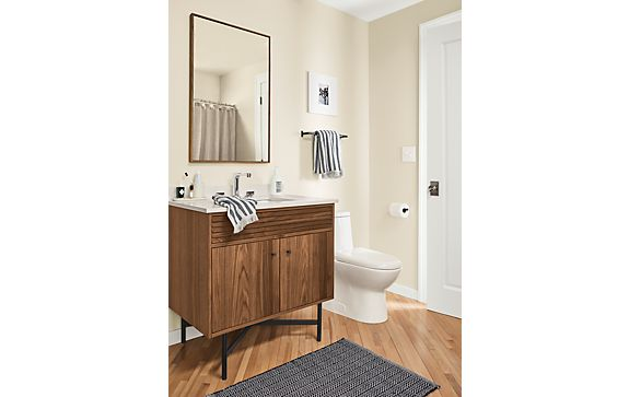 Adrian One Rectangular-Sink Vanity in Walnut