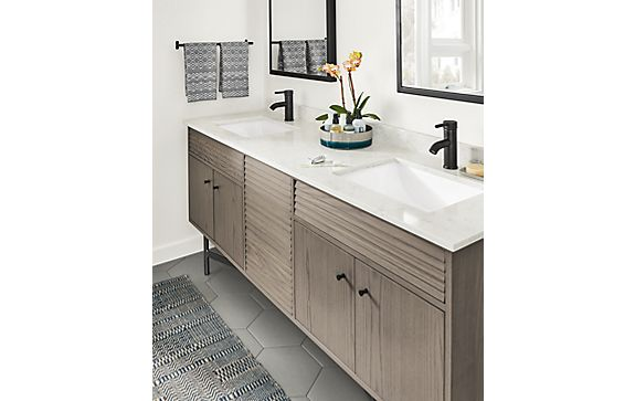 Adrian Bathroom Vanity in Shell on Ash