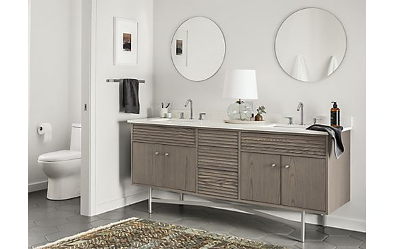Adrian Two-Sink Vanity in Shell Stain