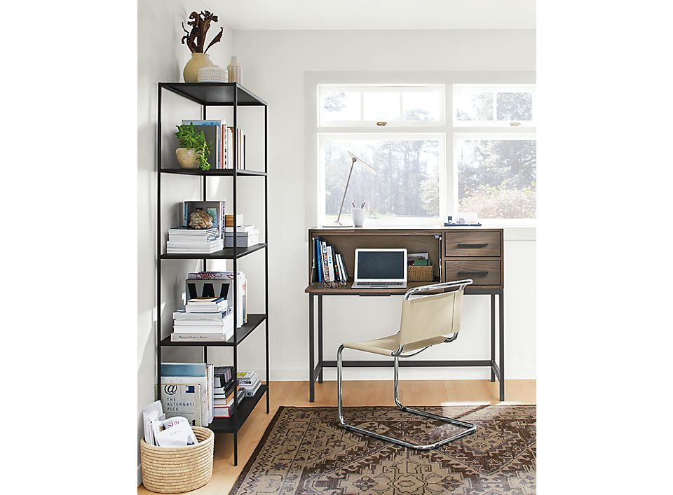 Alden office armoire in small space corner office