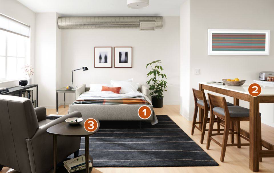 Open view of Allston sleeper in small space