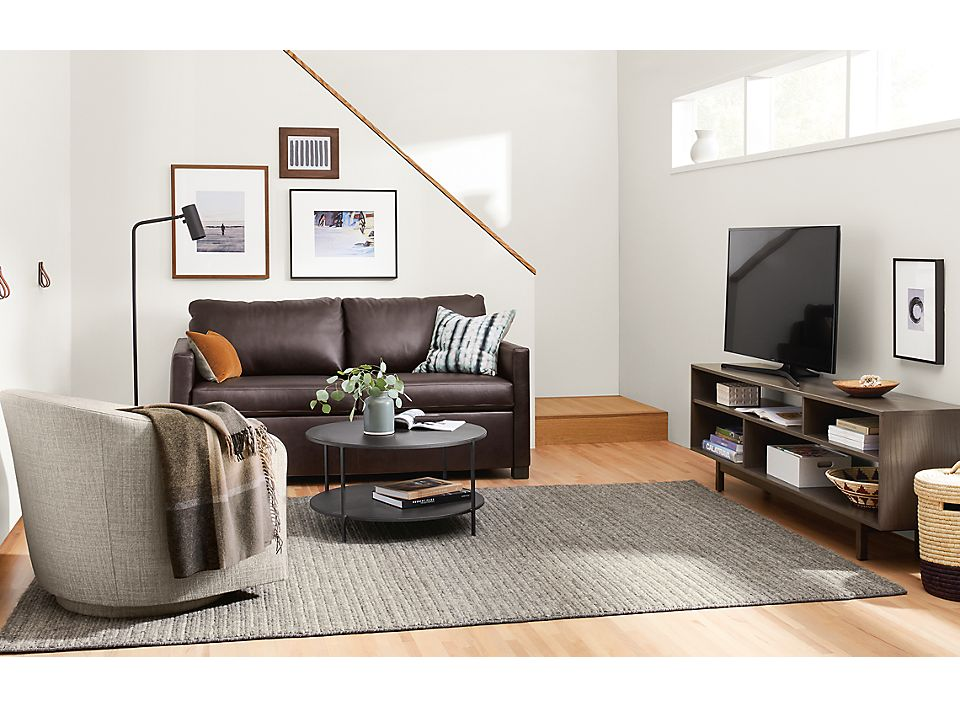 Closed view of leather Allston sleeper sofa