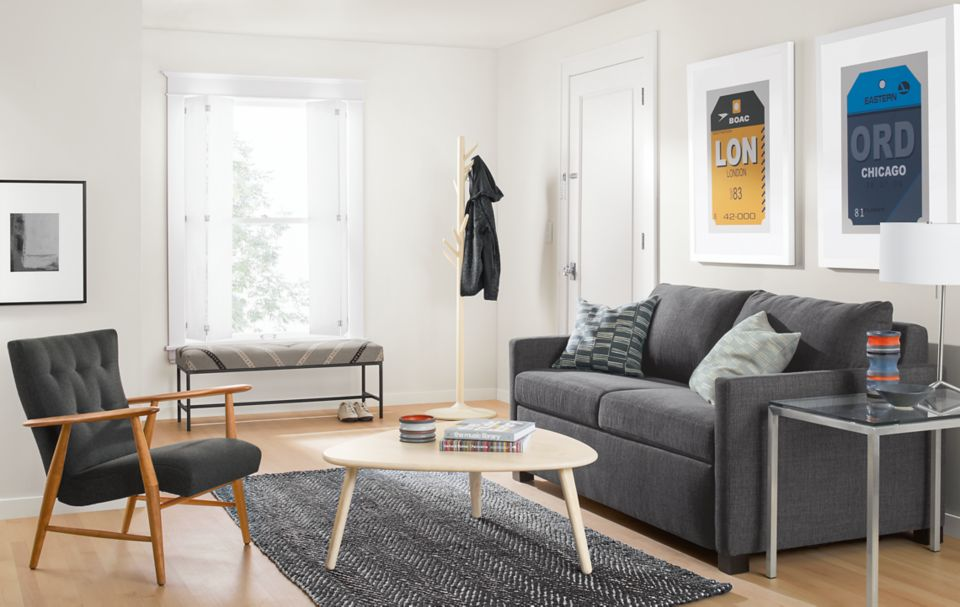 Closed view of Allston sleeper sofa in small space