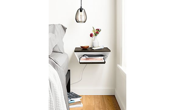 Alta Wall Shelf in White with Charcoal Shelves
