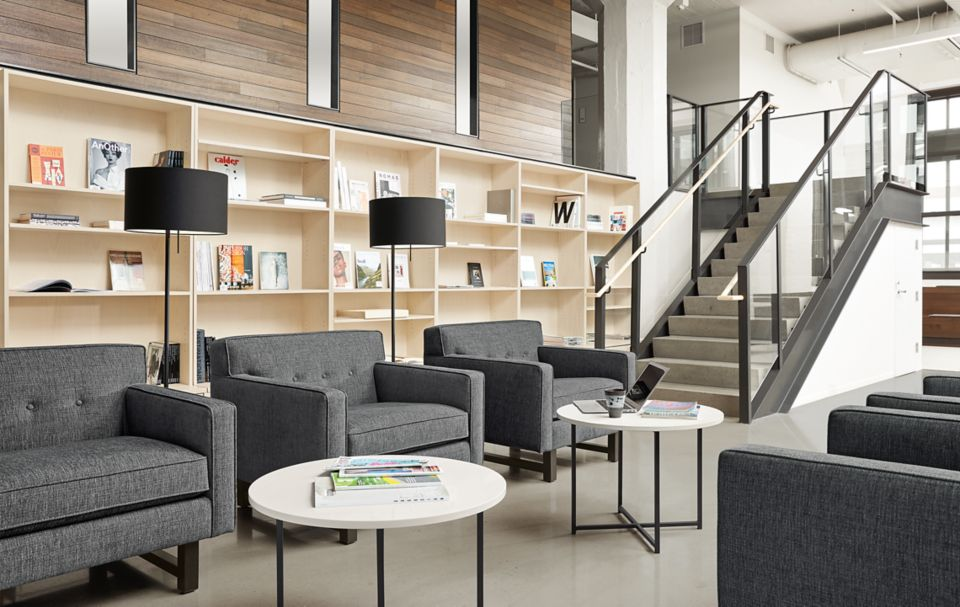 Detail view of three Andre chairs in modern lobby