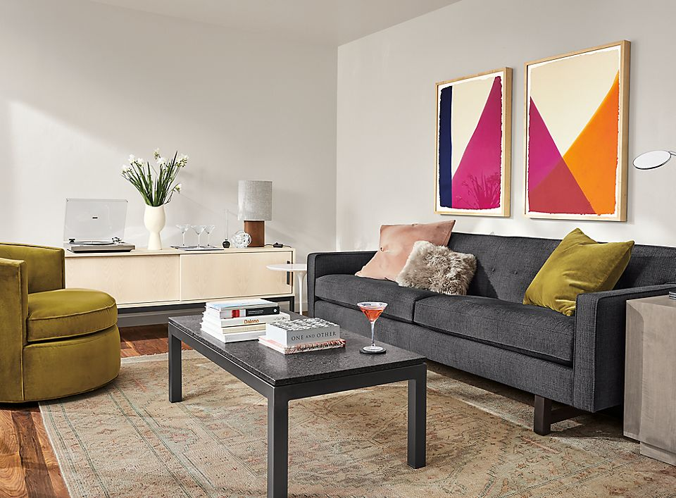Andre sofa in ink fabric in living room