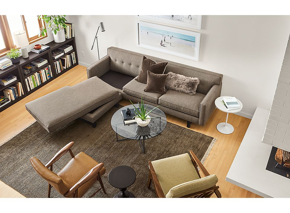 Overhead view of Andrea sofa with reversible cushion