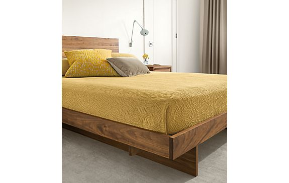 Anton Bed in Walnut with Thea Matelasse Bedding