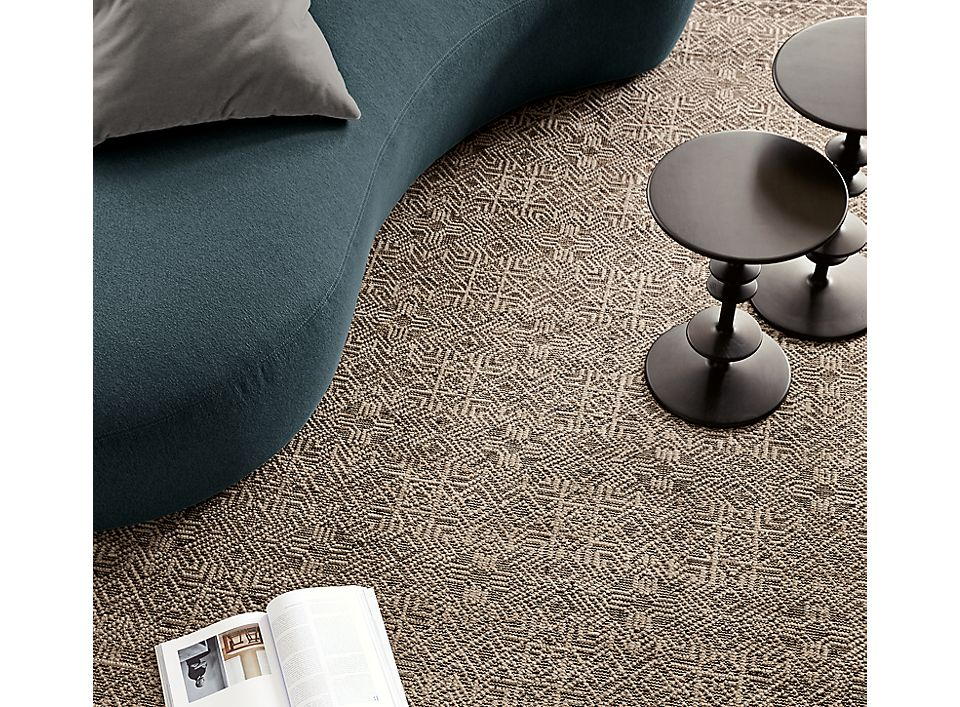 Detail of Anu rug in living room