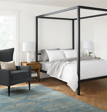 architecture bed with louis chair - modern bedroom furniture