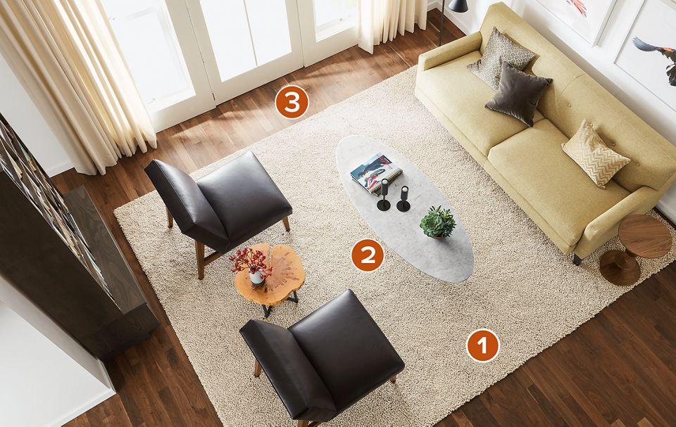 Overhead view of 9x12 Arden rug in living room
