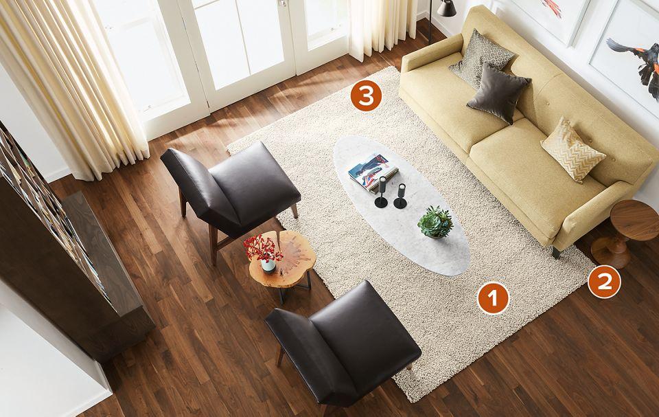 Overhead view of 6x9 Arden rug in living room