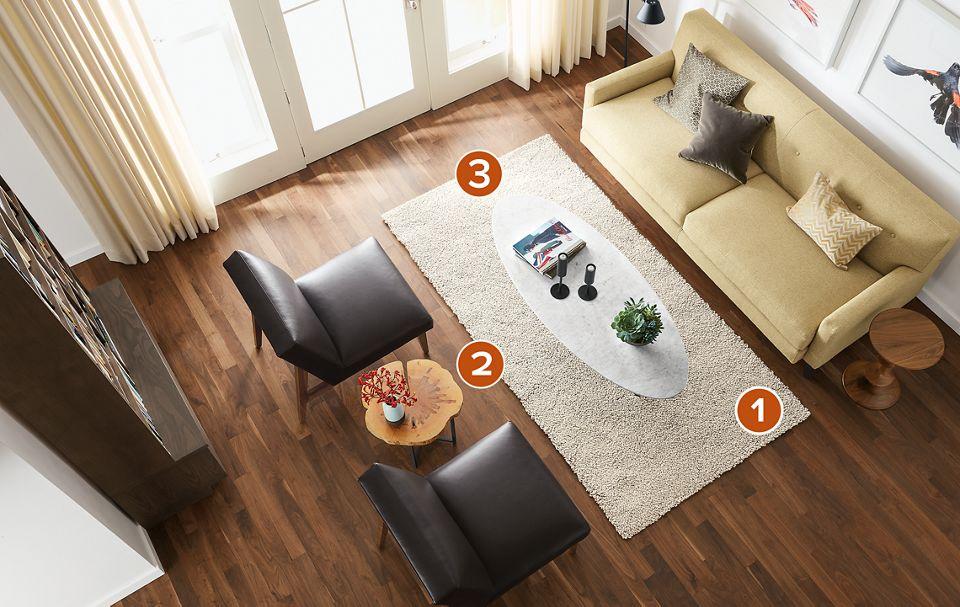 Overhead view of 4x8 Arden rug in living room