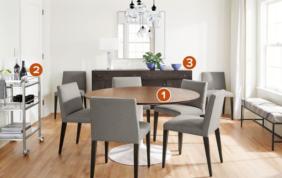 Aria round dining table with five Ava side chairs