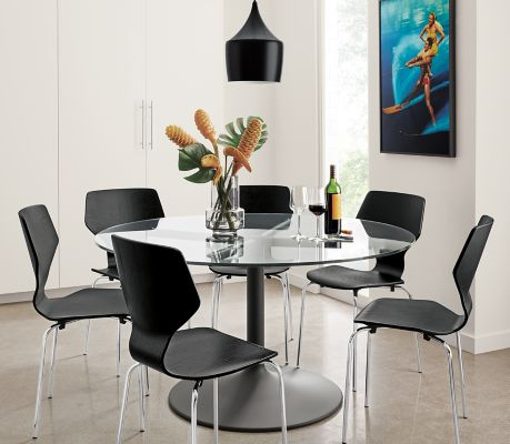 aria dining table in graphite with pike chairs aria dining table in graphite with pike chairs   modern dining      rh   roomandboard com