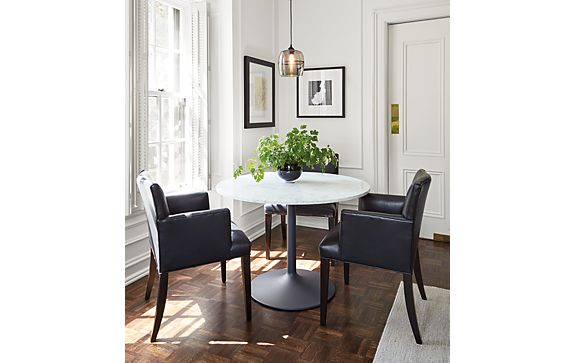 Aria Table with Marie Leather Chairs