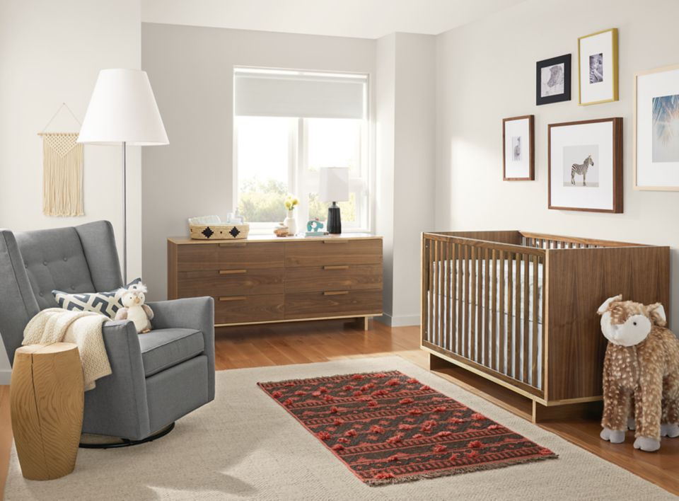 Modern baby room with Ashby crib and dresser
