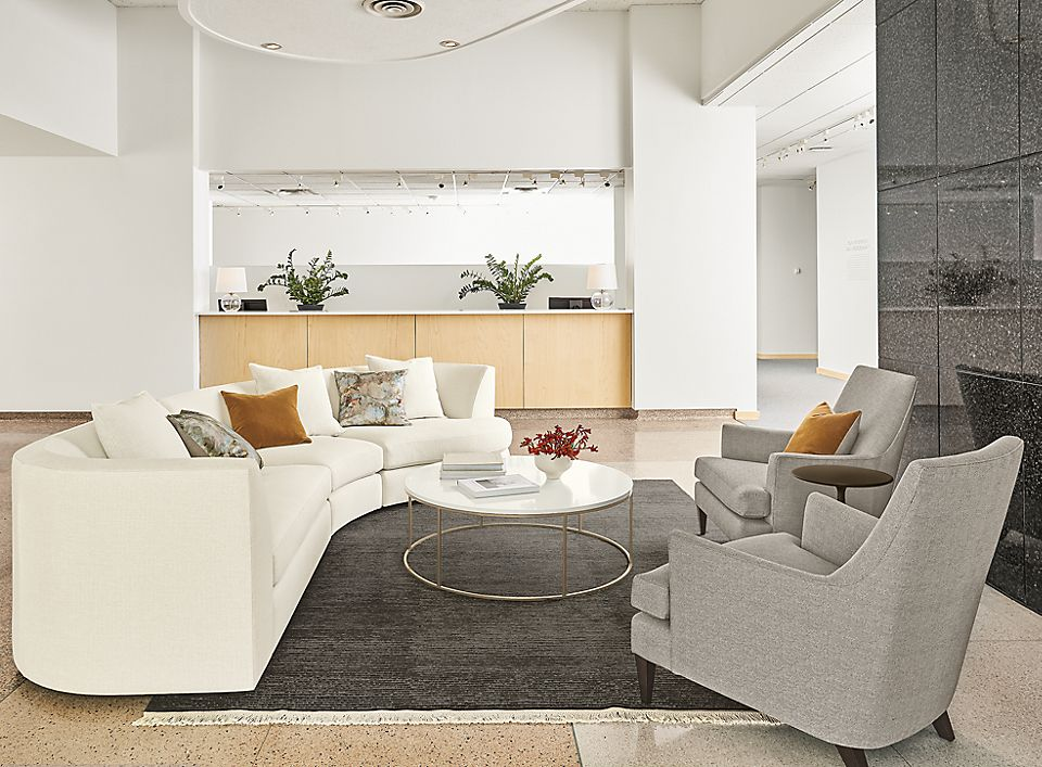 Detail of Astaire sectional in Sumner ivory fabric in business lobby