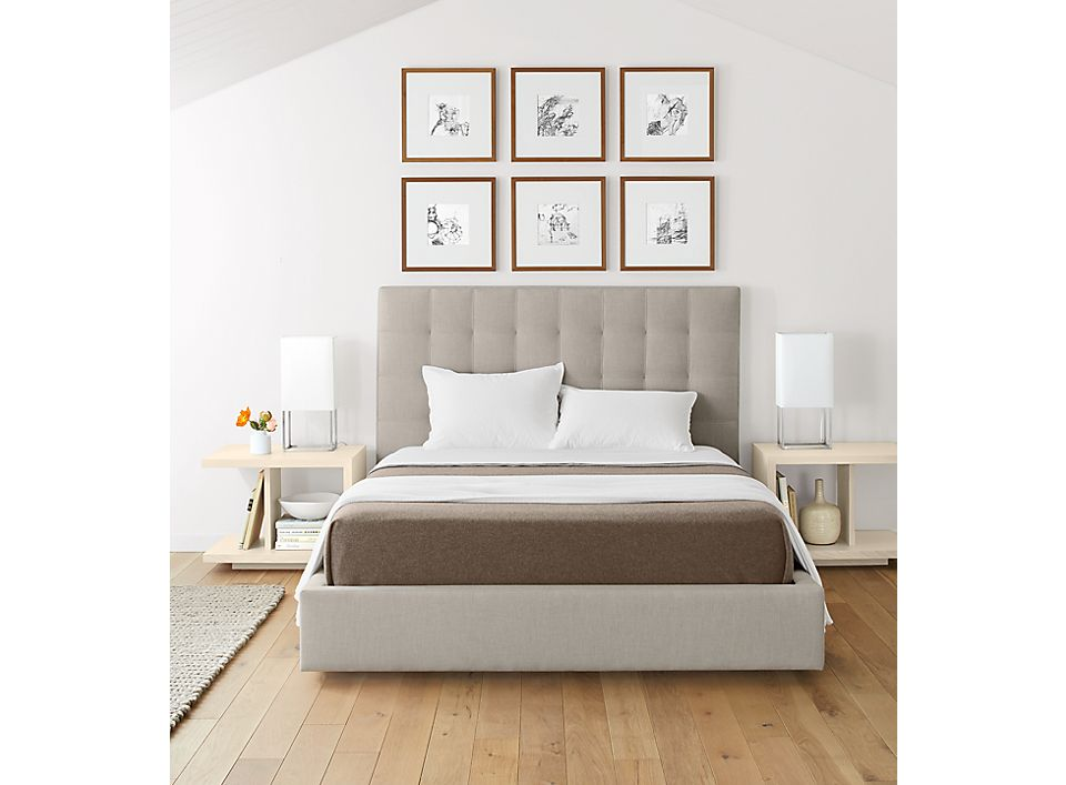 Avery queen storage bed in modern bright bedroom