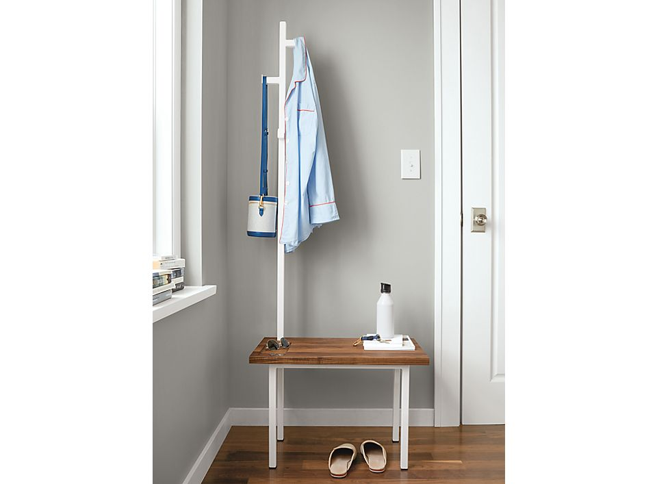 Baltic Left Coat Rack Bench in Walnut & White - Room & Board