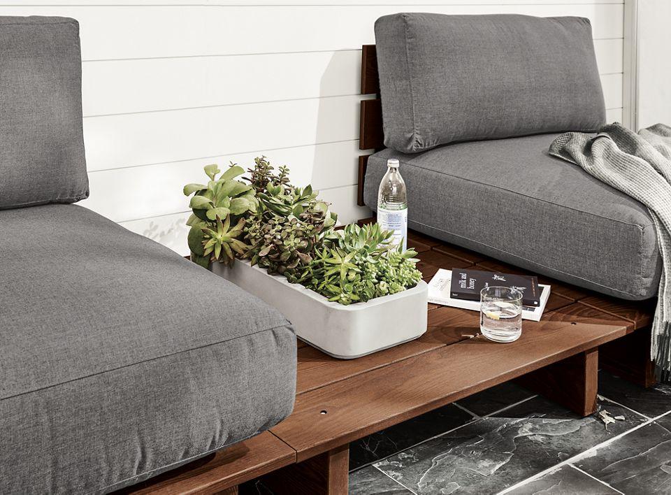 Close detail of Bampton outdoor planter