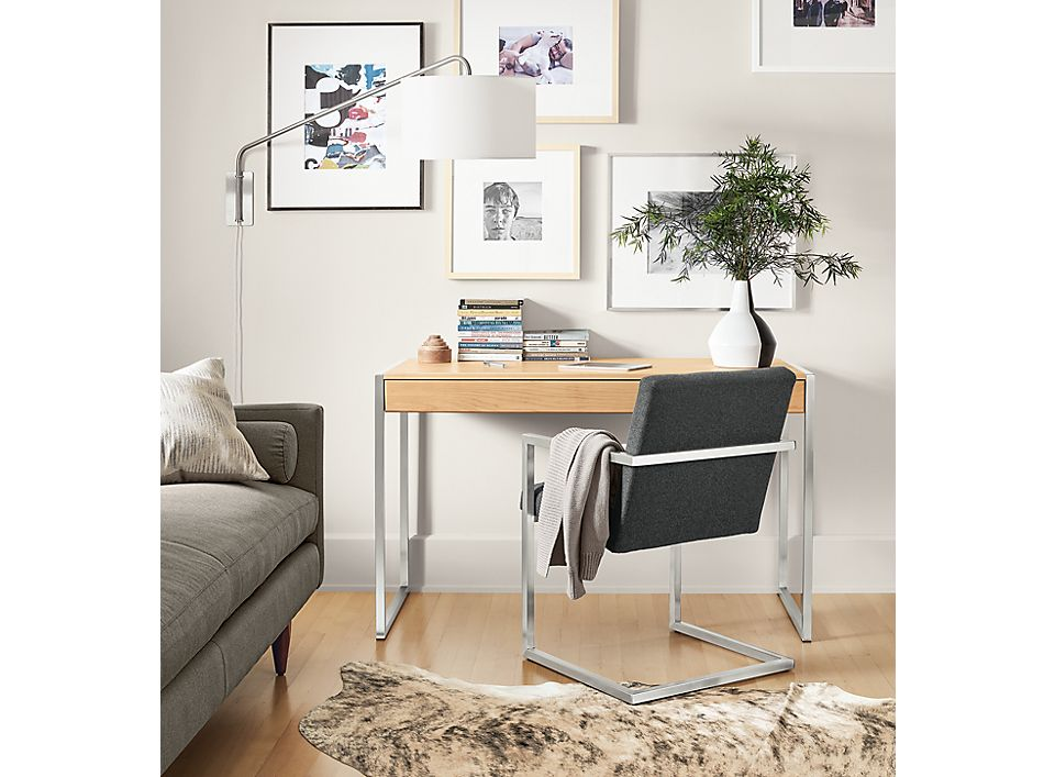 Detail of wood Basis desk in apartment