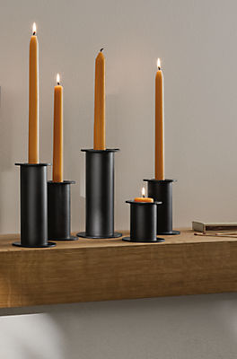 Living room with Bask candle holder in graphite