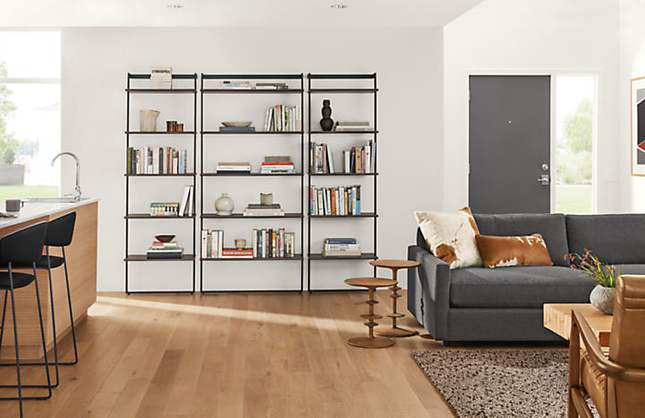 Detail of Beam leaning bookcase