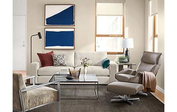 Beckett Sofa with Beau Leather Chair Living Room