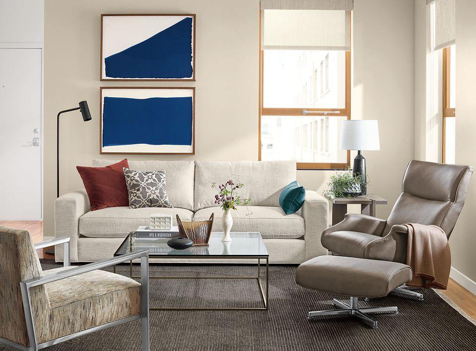 Beckett two-cushion sofa in living room