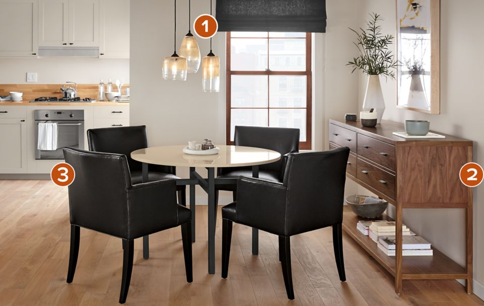 Benson dining table with four Marie chairs
