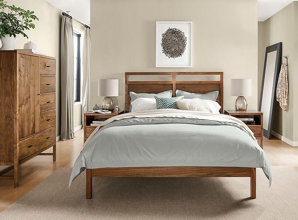Berkeley queen bed in Japanese-inspired bedroom
