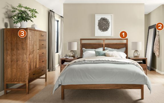 berkeley bedroom collection in walnut - modern bedroom furniture