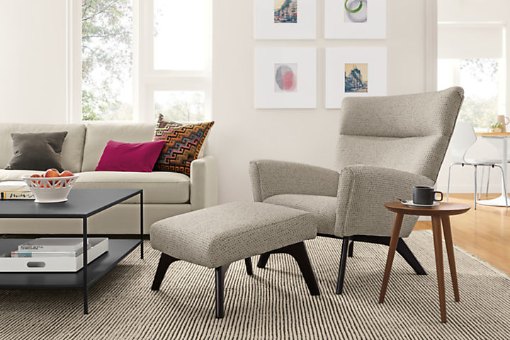 Detail of Boden accent chair with ottoman