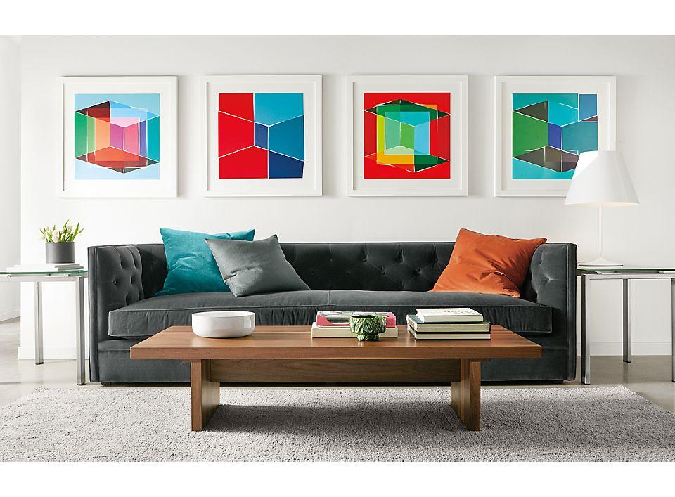 Four Henri Boissiere silkscressns above sofa