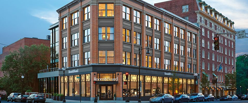 Room & Board Boston is a five-floor modern furniture store near Newbury Street.