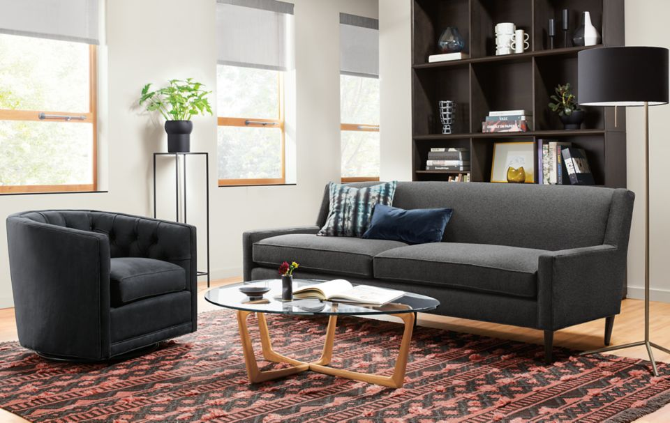 Braden sofa in Tatum ink in small living room