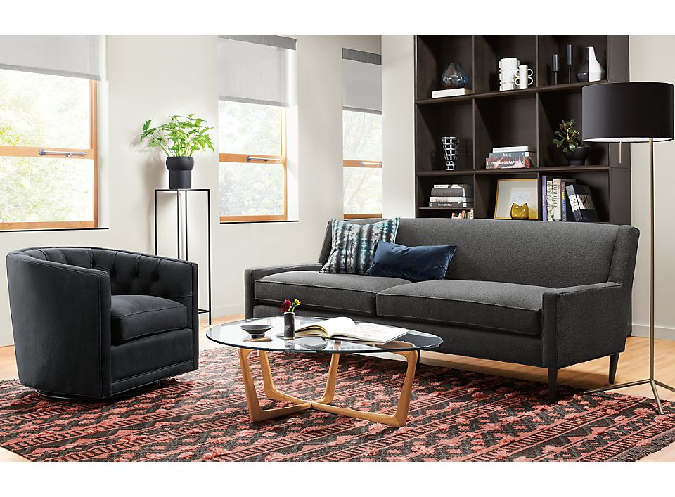 Braden sofa in Tatum ink in small living room