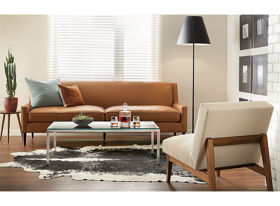 Braden two-cushion leather sofa in small living room