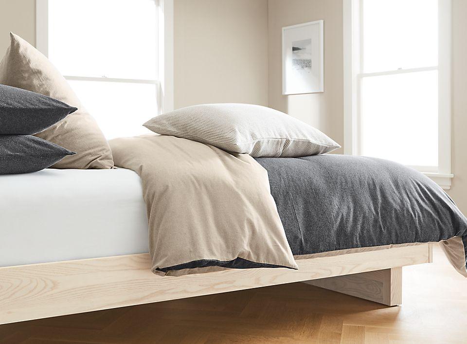 Detail of Brockway flannel bedding on bed